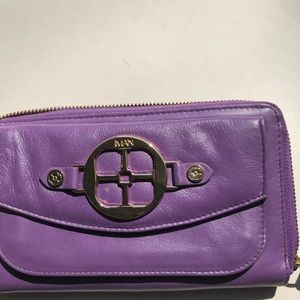 Iman purple leather clutch wristlet, NWOT.